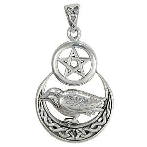 Sterling silver raven pentagram wicca pentacle pendant celtic moon image is loading sterling silver raven pentagram wicca pentacle pendant celtic aloadofball Choice Image