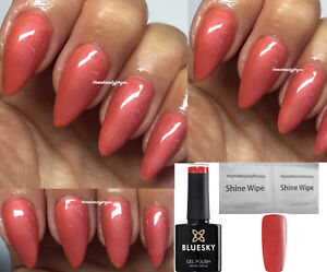 BLUESKY-GEL-POLISH-SALMON-CORAL-REEF-CS32-NAIL-UV-LED-SOAK-OFF-ANY-2-FILE-WIPES