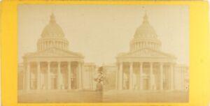 Francia-Parigi-il-Pantheon-Foto-PL61-Stereo-Vintage-Albumina-Ca-1870