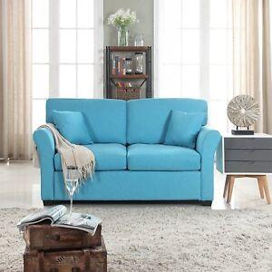 Pleasant Details About Comfortable Fabric Loveseat Sofa For Small Living Room Linen Couch Blue Inzonedesignstudio Interior Chair Design Inzonedesignstudiocom