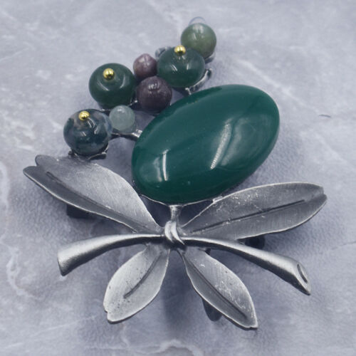 Vintage Branch Leaves Brooch Wedding Party Jewelry Oval Nature Stone Pin Gift
