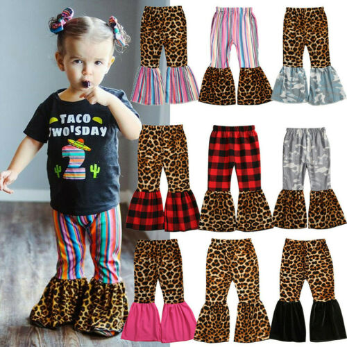 Children Baby Girls Pants Leopard Print Pants Fashion Striped Trousers Clothes