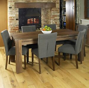 Mayan Walnut Dark Wood Modern Furniture Large Dining Table And Six Chairs Set Ebay