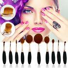 10 Pcs/Set Women Pro Toothbrush Shape Oval Makeup Kit Rose Gold Foundation Brush