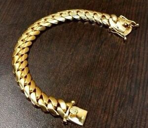 Image Is Loading 14k Gold Plated Sterling Silver Miami Cuban Link