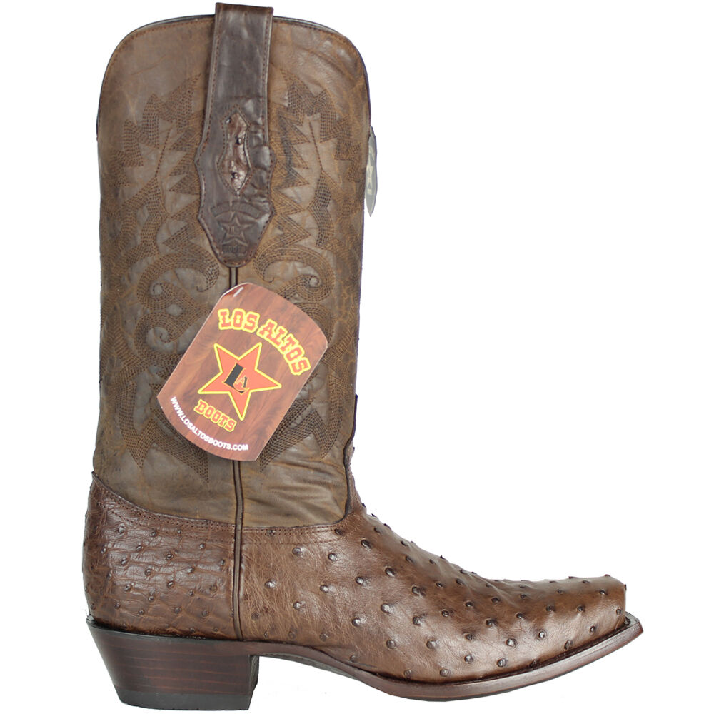 uk availability 9cb1d 6757b ... LOS LOS LOS ALTOS BROWN GENUINE QUILL OSTRICH SQUARE 7 TOE WESTERN  COWBOY BOOT 580307 08ccac ...