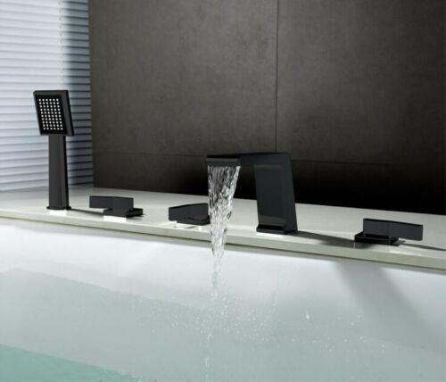 5pcs Set Waterfall Bathtub Faucet Widespread Tub Sink Mixer Taps Black Brass