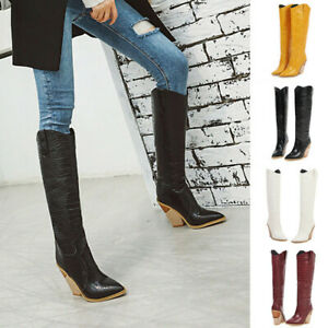 Womens Over The Knee Stacked Chunky Low Heel Retro Lace Up Long Tube Toe High Tall Boots