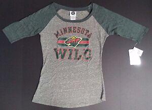 NEW NWT Minnesota Wild NHL Gray Grey Women s 3 4 Sleeve T-Shirt ... 7b8584151b