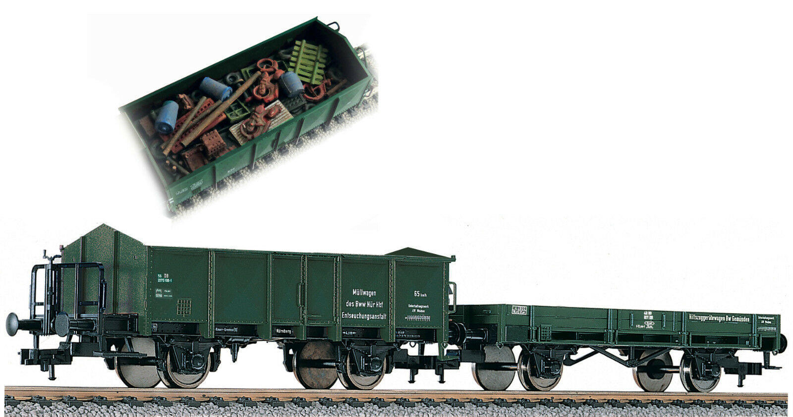 Fleischmann 591002 2 Open Freight Car with Waste Optional Kk + Wheelsets Free