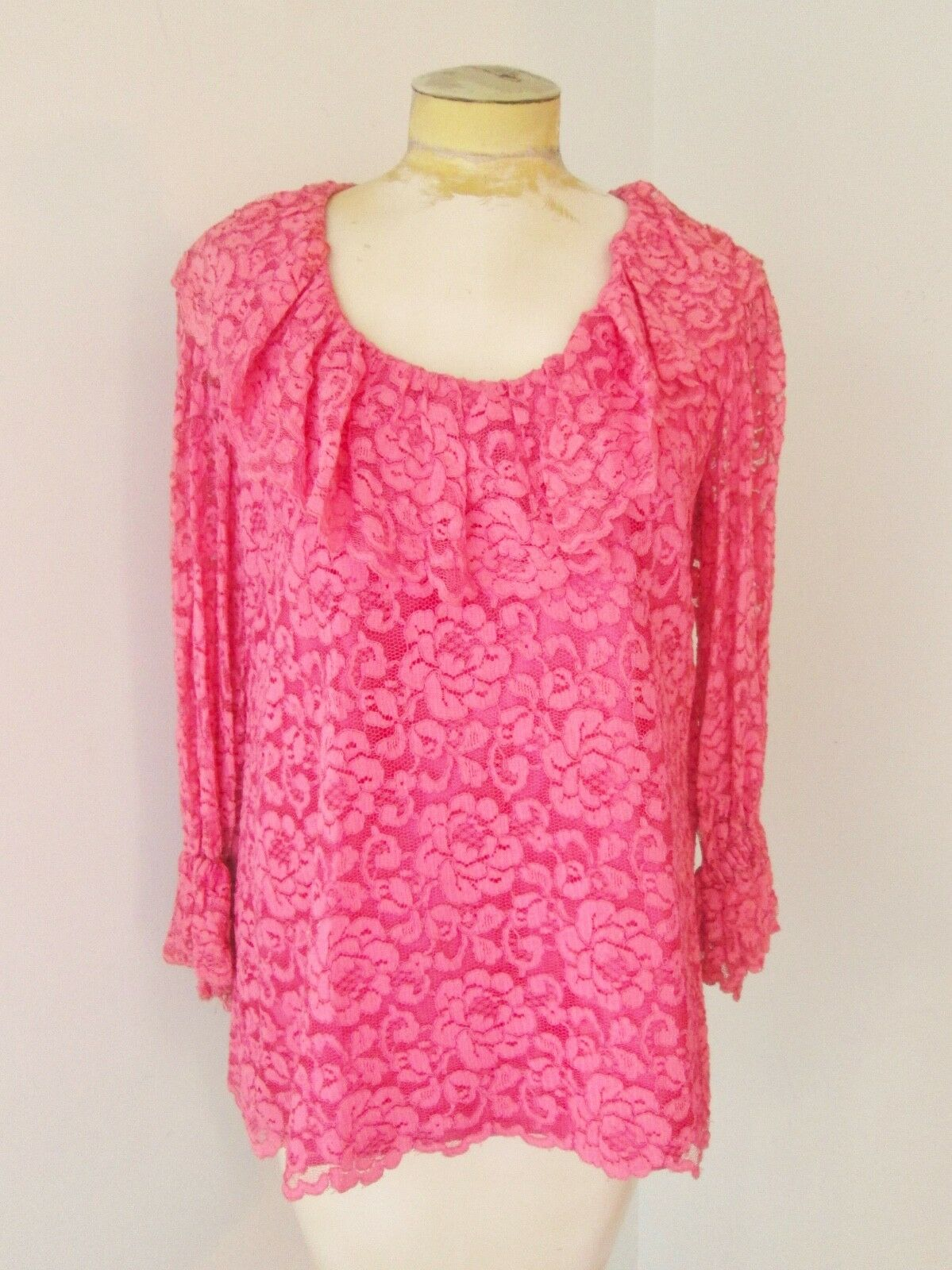 Vtg 60s pink 2-pc babydoll top bell bottom lace p… - image 3