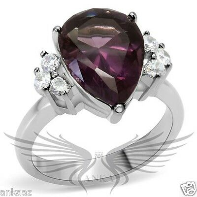 Brilliant 5.75ct Pear Synthetic Glass Engagement Ring 5 6 7 8 9 10 TK167 *