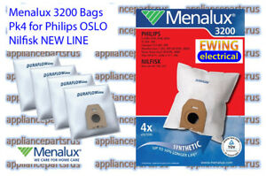 Menalux-3200-Vacuum-Cleaner-Bags-for-Nilfisk-NEW-LINE-Philips-OSLO-Pk-4-IN-STOCK