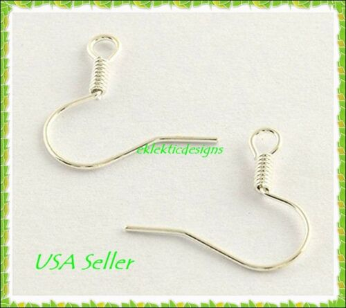 50 pcs Silver Plated Hook French Fish Wire Coil Earrings Jewelry Findings 25prs