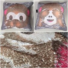 GLITZY SEQUIN MAGIC MERMAID EMOJI CHEEKY MONKEY REVERSIBLE FUN CUSHION COVER