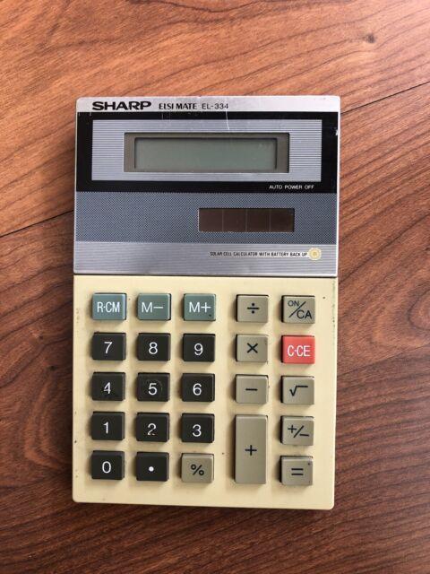 Vintage Sharp Elsimate EL-334 Solar Calculator w/ Battery Back-Up *TESTED*