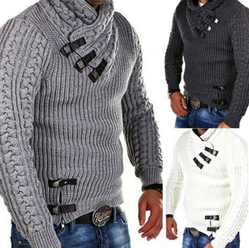 Men/'s Winter Pullover Hoodies Knitted Jacket Turtleneck Cardigan Casual Sweaters
