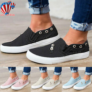 Summer-Womens-Casual-Sneakers-Flat-Slip-On-Zip-Trainers-Pumps-Shoes-Flats-Sizes