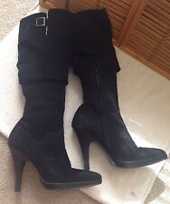 Dune Ladies High Black suede Boots size 40 euro-US 9 made in Brazil