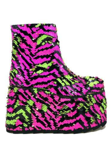 YRU Qomet Zebra Stripe Sequins Green Punk Gothic Rave Punk Platforms Boots Shoes