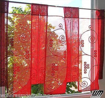 Y:1Lamelle H54cm Kurzgardine Gardine Scheibengardinen Bistrogardine Panneaux rot