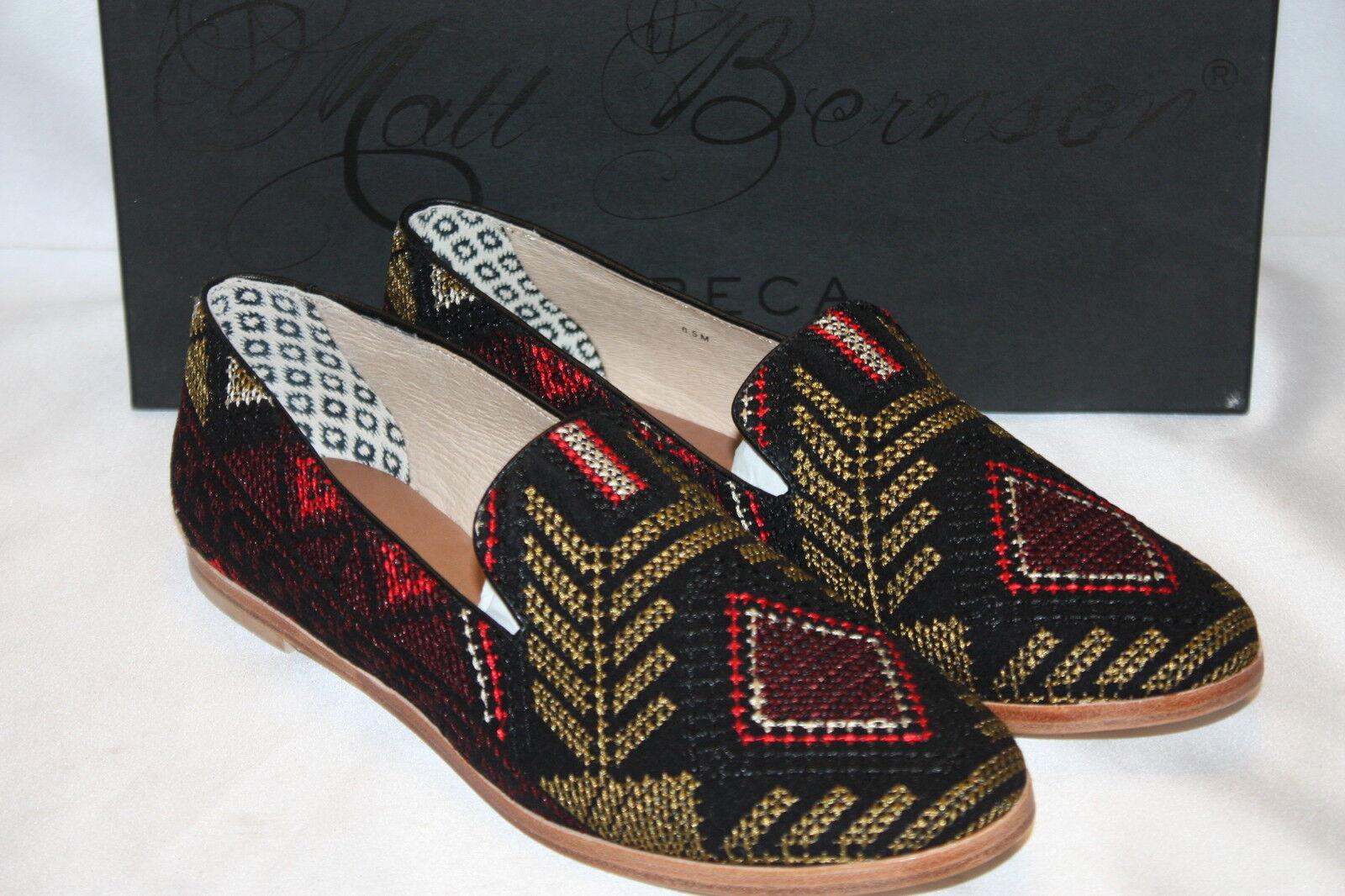 NEW! NIB! MATT BERNSON Black Needlepoint GITANES Smoking Shoes Loafers 6.5 $168