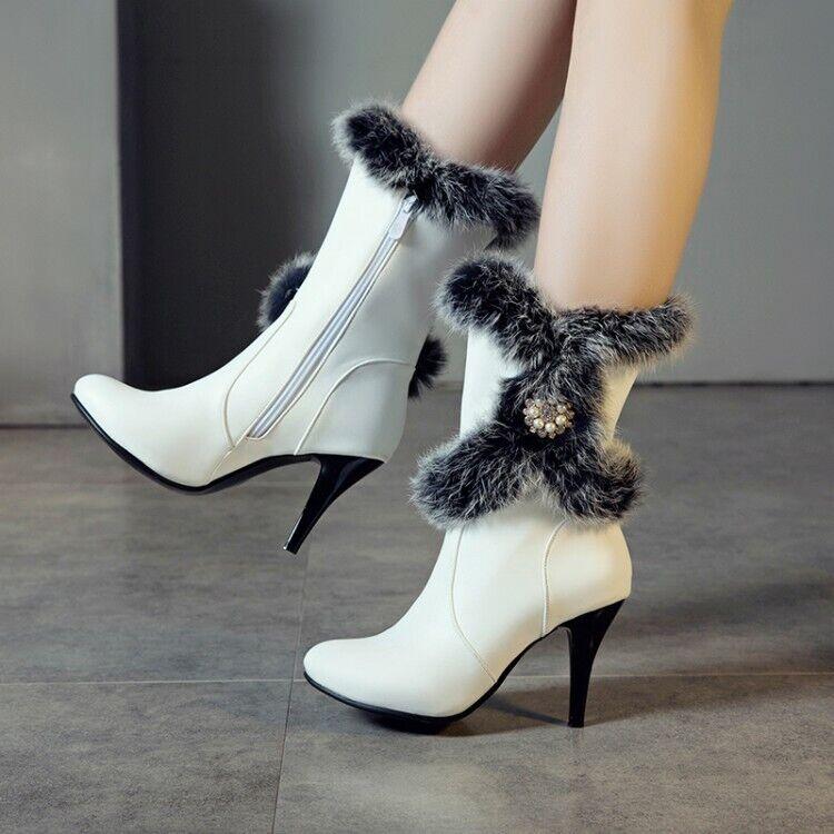 Women Pointy Toe Stilettos High Heels Rhinestones Ankle Boot Warm Fur Shoes C185