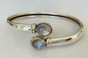 Sterling Silver Bangle Bracelet Rainbow Moonstone Gemstone Open End Solid Women