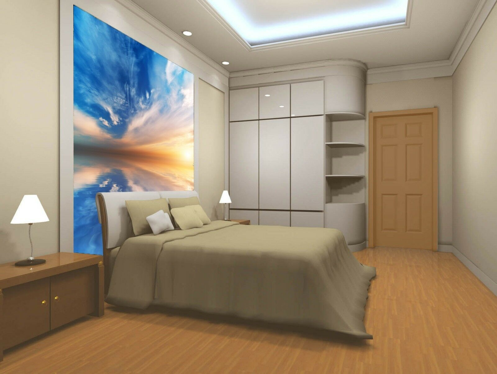 3D bluee Sky Sunset Paper Wall Print Wall Decal Wall Deco Indoor Murals
