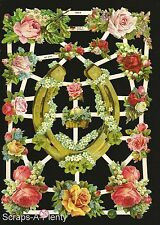 German Victorian Style Embossed Scrap Die Cut - Horse Shoe Flowers  EF7200b