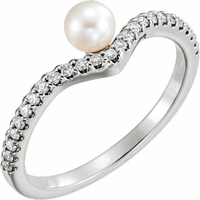 Freshwater Cultured Pearl & 1 5 CTW Diamond Asymmetrical Ring In 14K White gold