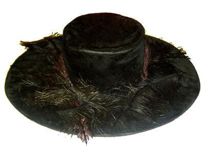 Cordiale Antico Vintage Nero Vittoriano Cappello Seta Velluto Piuma Di Struzzo Anni 1890