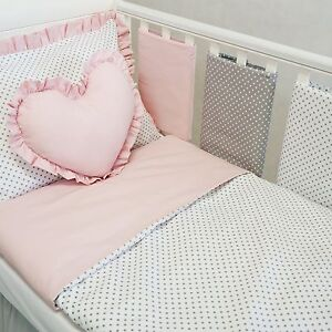 Baby Pink /& Hot Pink Dimples New Baby Girl Handmade Cot Bar Bumpers Set Of 8