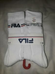 d9afe15fd3c Details about 6 Pack Men FILA Spell Out Crew Socks White Shoe Size 6-12