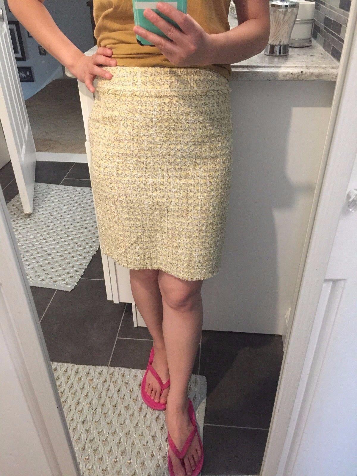 Ann Taylor Light Yellow Tweed Pencil Skirt - Size 0P