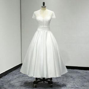 2018 Vintage Kurzarm Brautkleider Tee Lange Spitze Satin A Linie