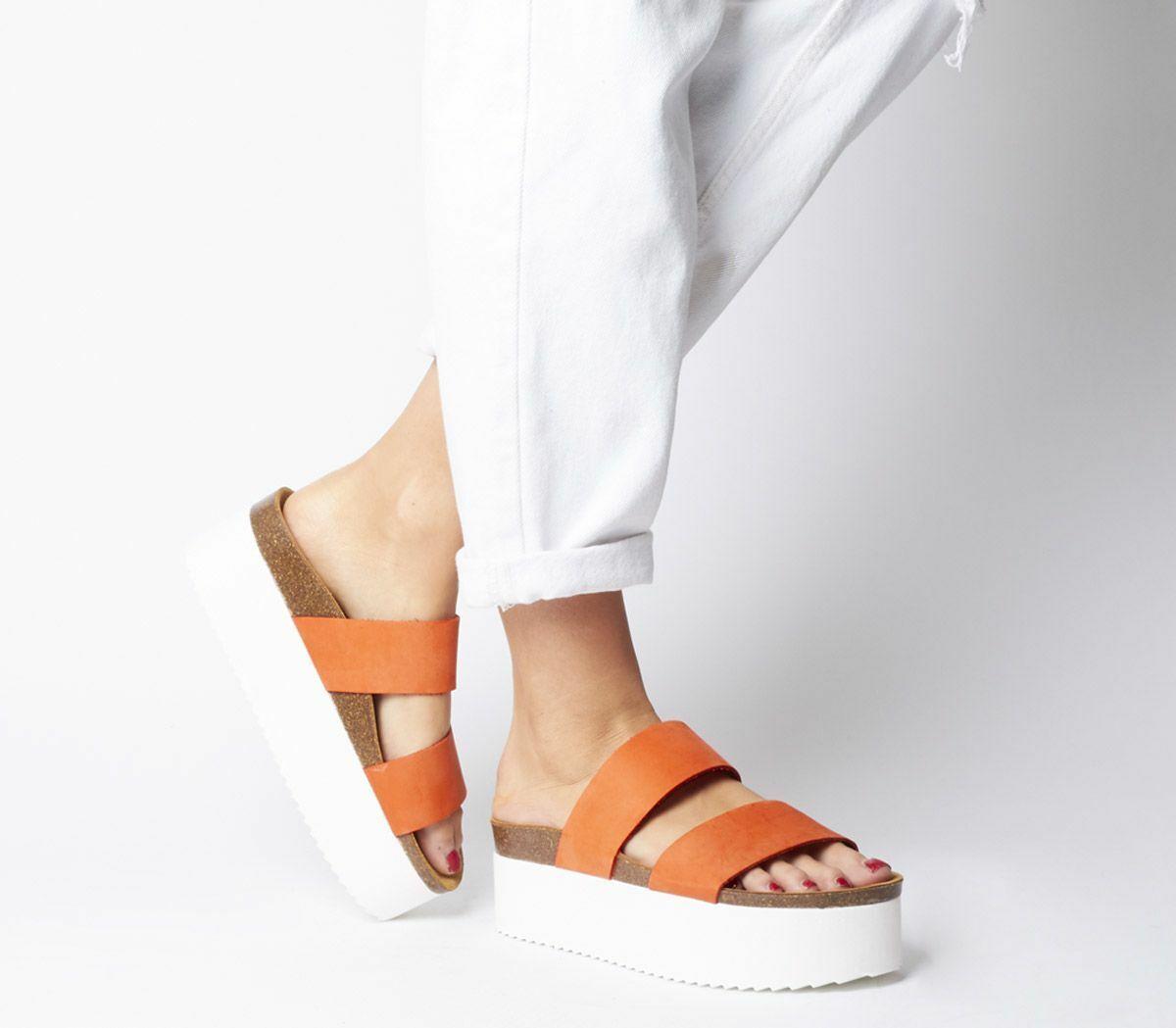 Womens Office Mambo Two Strap Flatforms orange Nubuck Heels