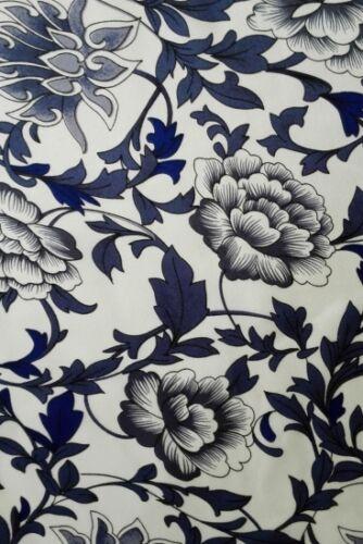 100/% seda blütenornament china azul calidad superior METERWARE aprox 110 cm de ancho