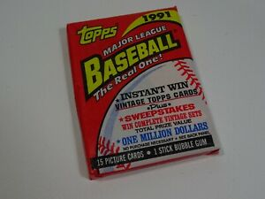 Topps-1991-40-Years-of-Baseball-Sealed-Pack-of-15-Cards-amp-Bubble-Gum