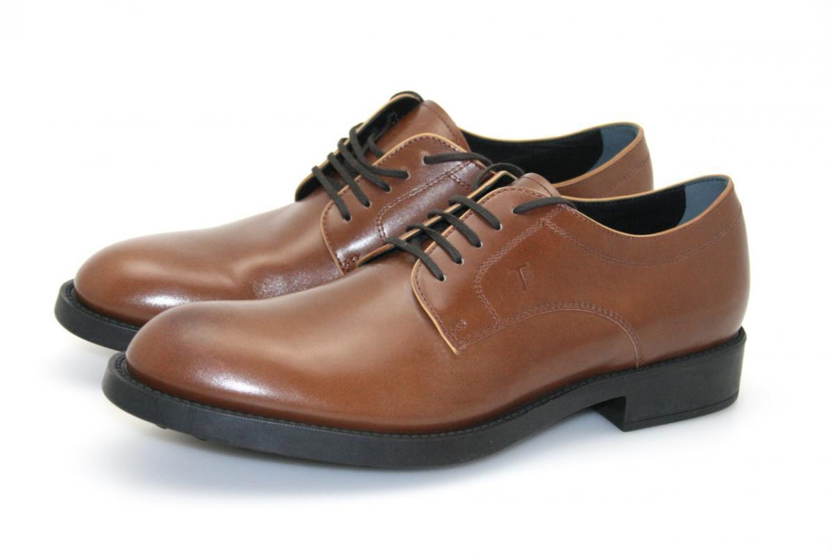 AUTHENTIC LUXURY TOD'S LACE-UP SHOES GIOVANE BROWN NEW 8 42 42,5