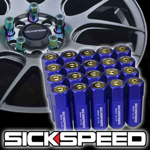 SICKSPEED 20 PC BLUE/24K GOLD CAPS ALUMINUM 60MM LUG NUTS FOR WHEELS 12X1.5 L07