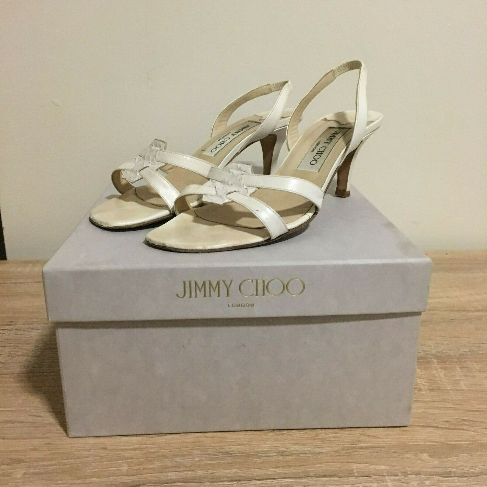 Jimmy Choo White Cream Leather Snake Print Heels shoes Sandals Boots 35 UK 2 3