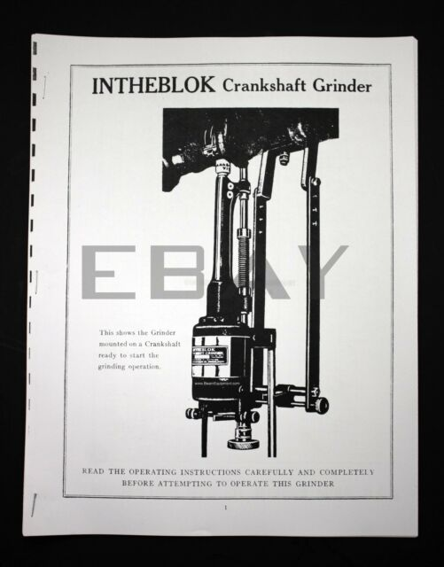 Winona Van Norman INTHEBLOK Crankshaft Grinder Manual and Parts List