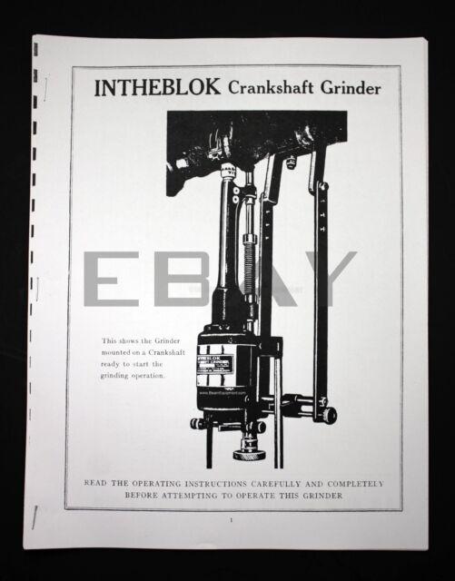 Winona Van Norman INTHEBLOK Crankshaft Grinder Manual and Parts List