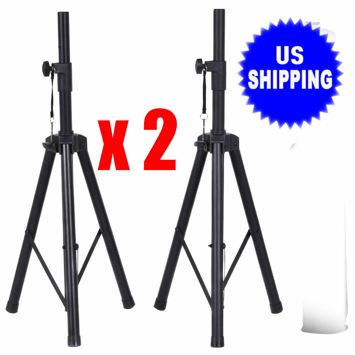 Tripod Speaker Stands Pair 110lb Load Pro Audio Stage Monito