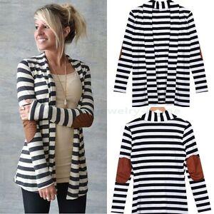 Damen-Langarm-Pullover-Strick-Cardigan-Jacke-Strickjacke-Streifen-Tunika-Bluse