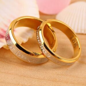 Image Is Loading USA 2Pcs 18K Rose Gold Forever Love Couple