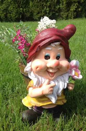 Design xl nain avec pot de fleurs 30 cm de haut 50615-1 Jardin Nain de Jardin personnages