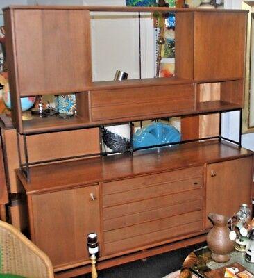 Mid Century Room Divider >> Stanley Credenza Bar Cabinet Mid Century Wall Unit Danish Modern Room Divider Ebay