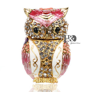 Pink-Owl-Crystal-Metal-Trinket-Boxes-Figurine-Jewelry-Collectibles-Wedding-Gifts